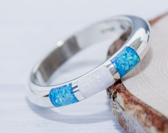 Stunning sterling silver band ring with three chip White & Blue Opal squares
