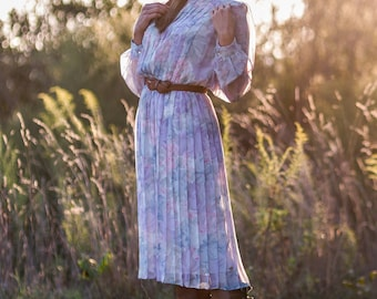 Vintage Sheer Pastel Floral Pleated Dress (Size Small/Medium)