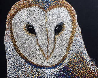"Dot Pointillism, Acrylic, Owl, black, 12""x12"" square, canvas paper, dot art, pointillist art, original artwork, white, gold, unframed"