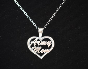 Army Mom Heart Shaped Pendant