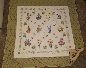 55 in x 55 in hand embroidered  flower lap quilt