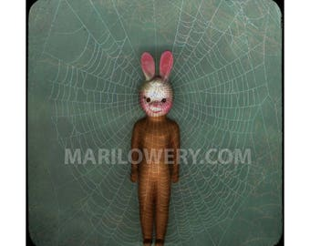 Creepy Cute Rabbit Doll Photography Print, Doll with Bunny Mask, Weird Easter Art, 7x7 on 8.5 x 11 Inch Paper, frighten