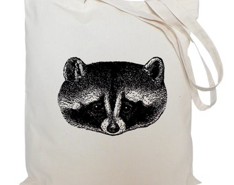 Tote bag/ drawstring bag/ cotton bag/ material shopping bag/ raccoon face, shoe bag/ animal/ market bag