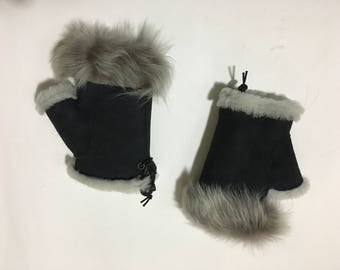 Sheepskin Fingerless Black Gray One Size