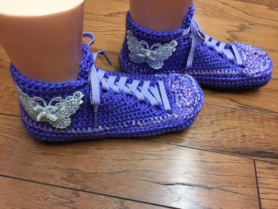 Crocheted shoes 7 sneakers tennis slippers 402 shoes purple butterfly tennis Womens slippers crochet 9 crocheted slippers sneaker Listing 86rv8q