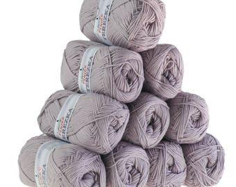 10 x 50g knitted yarn TEREZKA 100% cotton, #114 grey violet