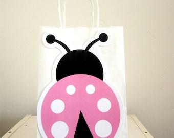 Pink Ladybug Goody Bags, Ladybug Goody Bags, Ladybug Favor Bags, Ladybug Gift Bags, Pink Ladybug Favors