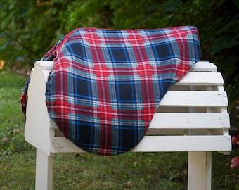Ready to Ship - Black, Navy, and Red Plaid Reversible Close Contact Saddle Cover