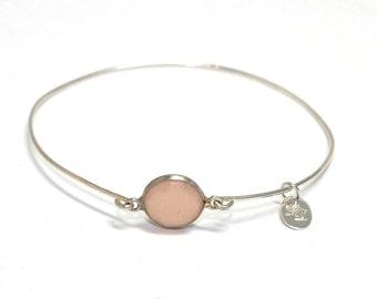 Womans Sterling silver Rose Quartz bracelet, boho, Minimalist, artisan, semi precious, narrow, bangle, pink, free worldwide shipping!