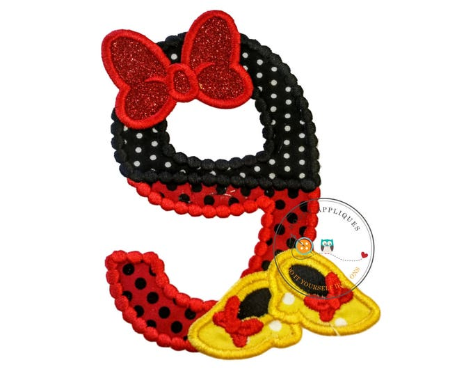 Red and black birthday number 9 with glitter bow iron on embroidered applique, 9th birthday patch for girl, Minnie inspired iron on applique