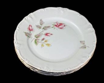Salad Plates, Winterling Bavaria, Germany, Floral Rose Pattern, Gold Trimmed, Set of 3