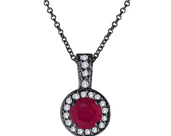 Red Ruby And Diamonds Pendant Necklace 14K Black Gold Vintage Style 1.23 Carat Halo Pave Handmade