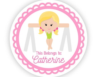 Name Label Stickers - Pink Gymnast, Cute Gym Labels, Little Girl Gymnastic Personalized Name Tag Label Stickers - Back to School Name Labels