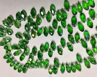 Grass Green Faceted Transparent Crystal Briolette Drop Teardrop Beads 6x12mm 13 Inch Strand