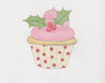 Handpainted needlepoint canvas Christmas cupcake