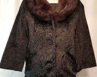 Faux Lambs Wool and Mink Jacket
