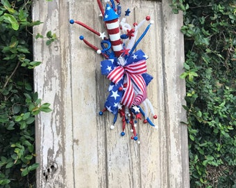 USA swag, Rocket Swag, Americana Wreath, Patriotic Wreath, Summer Wreath, USA Wreath,Rocket wreath,4th of July Wreath, USA Flag Wreath,