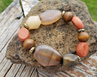 Natural Agate Stone Stretch Braclet