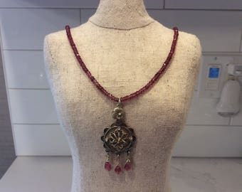 Sterling silver and pink tourmaline necklace with vintage sterling filigree pendant