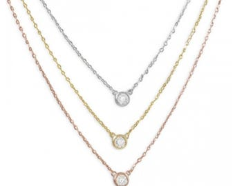 Graduated Tri Tone Necklace with CZs - 925 Sterling Silver