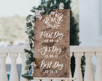 Wedding Welcome Sign - Our Love Story Sign - First Day, Yes Day, Best Day Wedding Sign - Wooden Wedding Signs - Wood Wedding Sign