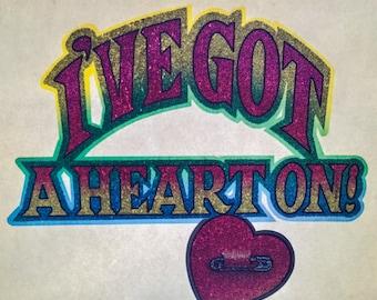 I've Got A Heart On! Vintage Rainbow Glitter Iron On Heat Transfer