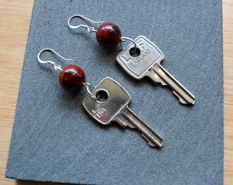 Red Bead Key Dangle Earrings