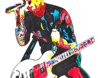 """Billie Joe Armstrong of Green Day: POSTER from Original Dwg 18"""" x 24"""" Signed/Dated by Artist w/COA"""
