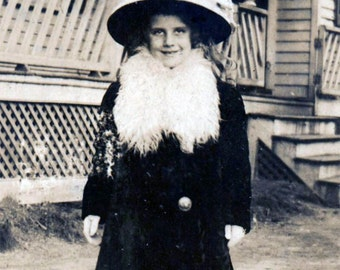 Little Girl Large Hat White fur COllar Original vintage black and white photography