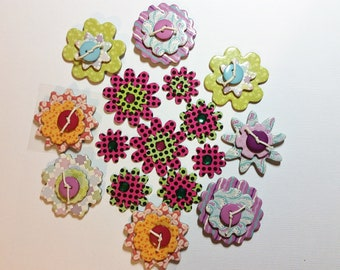 16 Different Flowers, Assorted Colors, Pink and Green Polka Dots, Flowers, Stripes, Buttons, Gems,  Glue Dots, Different Sizes