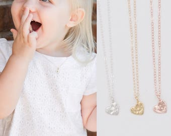 Tiny Heart Baby Toddler Initial Necklace, Dainty Children Heart Name Letter Necklace, Personalized Heart Pendant, Custom First Birthday Gift
