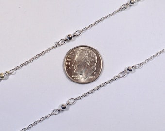 Fine Ball & Cable Chain - Silver Plated - CH85-SP - Choose Your Length