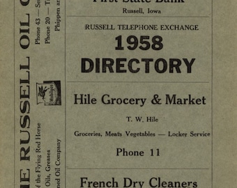 Russell Iowa Old Telephone Book Directory 1958 MINT