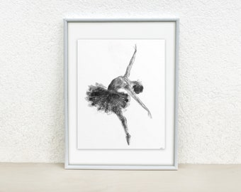 Ballerina wall art. Ballerina silhouette. Black and white ballerina sketch. Original art. Ink drawing Sketch of a dancer Ballet drawing 8x10