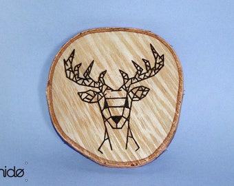 Deer Art Deco burning wooden disc