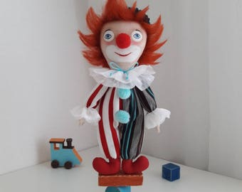 Handmade cloth doll Clown handcrafted Harlequin Handicraft doll clown with a pedestal personalized rag doll