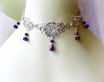 Triskele & Pentagram Choker Necklace, Wiccan Necklace, Pagan Jewellery, Gothic Choker, Pentacle Choker, Celtic Necklace, Purple and Black