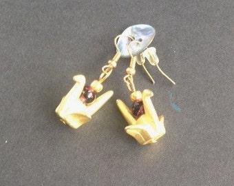 Golden Paper Crane Earrings