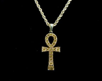 Vintage Estate 10k Gold Necklace w/ Religious Crucifix Cross Pendant 6.4g E1374