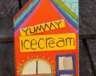 Yummy ICE CREAM & CANDY Shop ~Wooden Toy Boat Marina Dock Stores