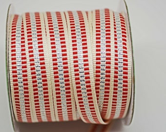 Candy Cane Stripe Cotton Silver Lurex Ribbon -- 1/2 inch -- Christmas Holiday