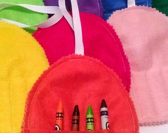 Easter egg shaped felt Crayon holder perfect for Easter baskets holds 4 crayons - Easter gift - Easter basket gift - party favors