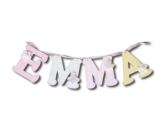 """pink and yellow letters for girls- wall letters for kids decor- 6"""" wall letters- custom wall letters -custom name"""