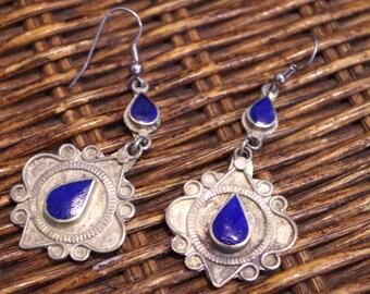 Royal Blue Tear Drop Earrings from India