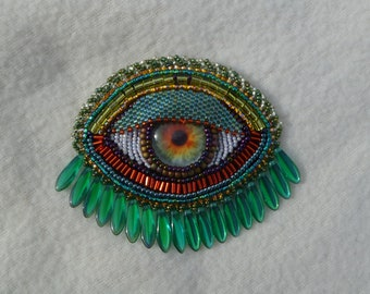 Green and red hand beaded brooch or pendant