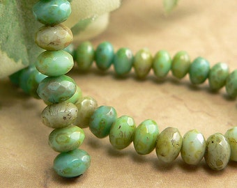 Green Czech Glass Beads Rondell Opaque Turquoise Picasso 3x5mm Spacers Mix (30)