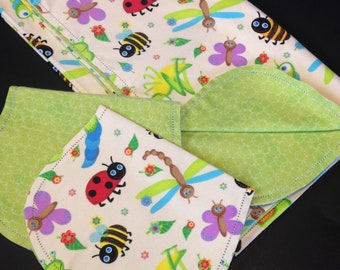 Hemstitch bumble bee ladybug Receiving blanket & 2 burp cloths, crochet flannel, butterfly, top quality fabric, green blue yellow baby gift