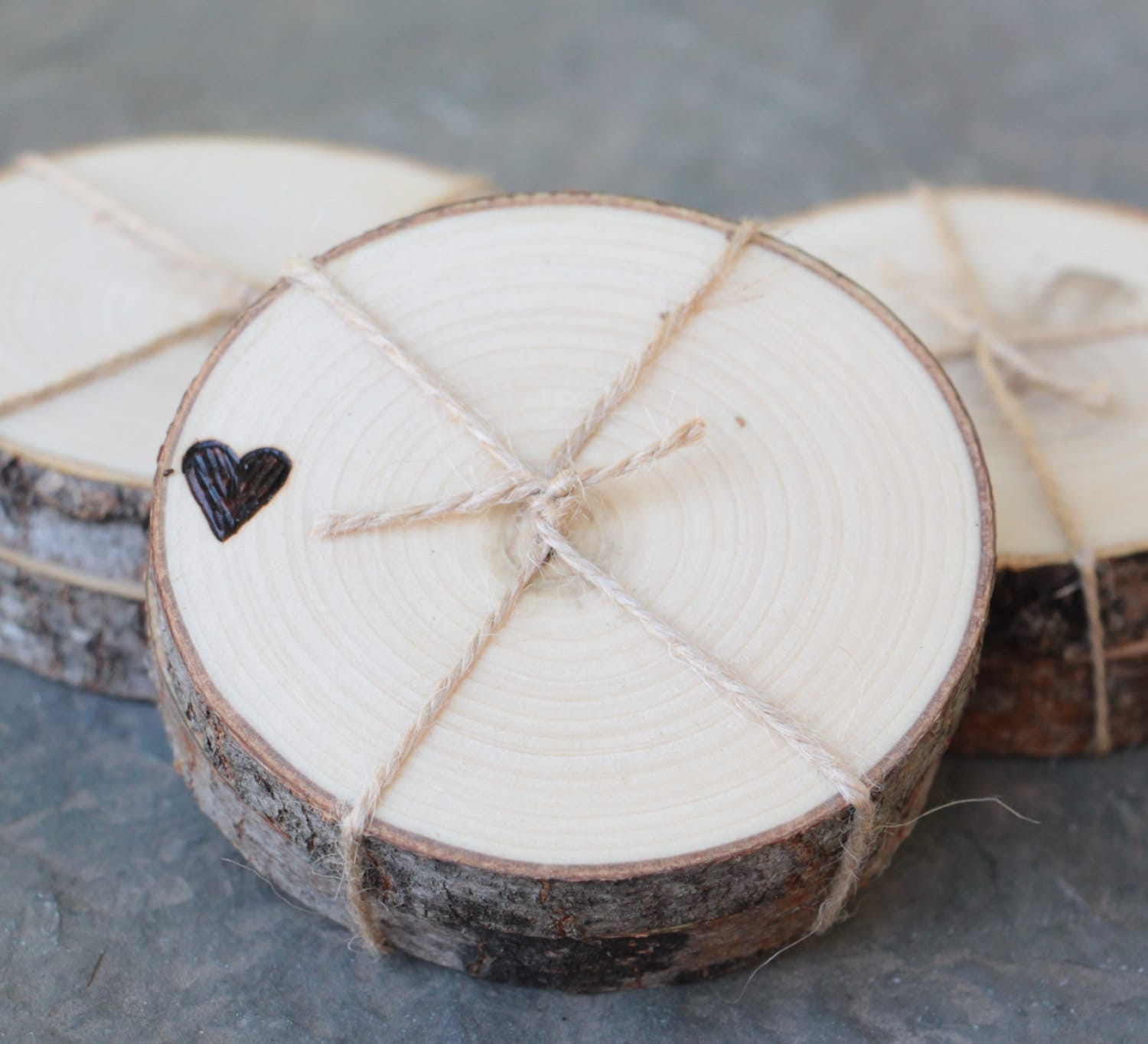 Woodsy Rustic Wedding Favors Woodland Coasters Hearts