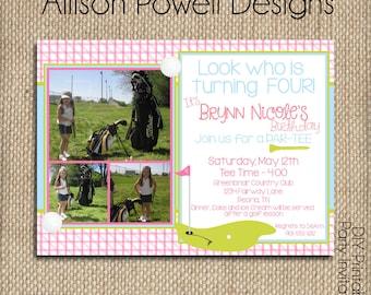 Girls Golf - Putt Putt - Gold Custom Birthday Party Invitation - Pink - DIY
