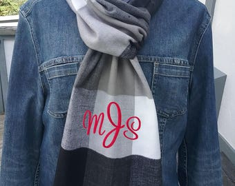 Scarf personalized with name or monogram - Free Shipping -  34 scarves to choose from